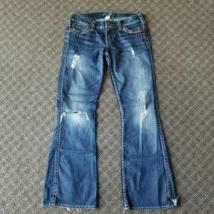 Silver Jeans Frances Bootcut Dark Distressed 29